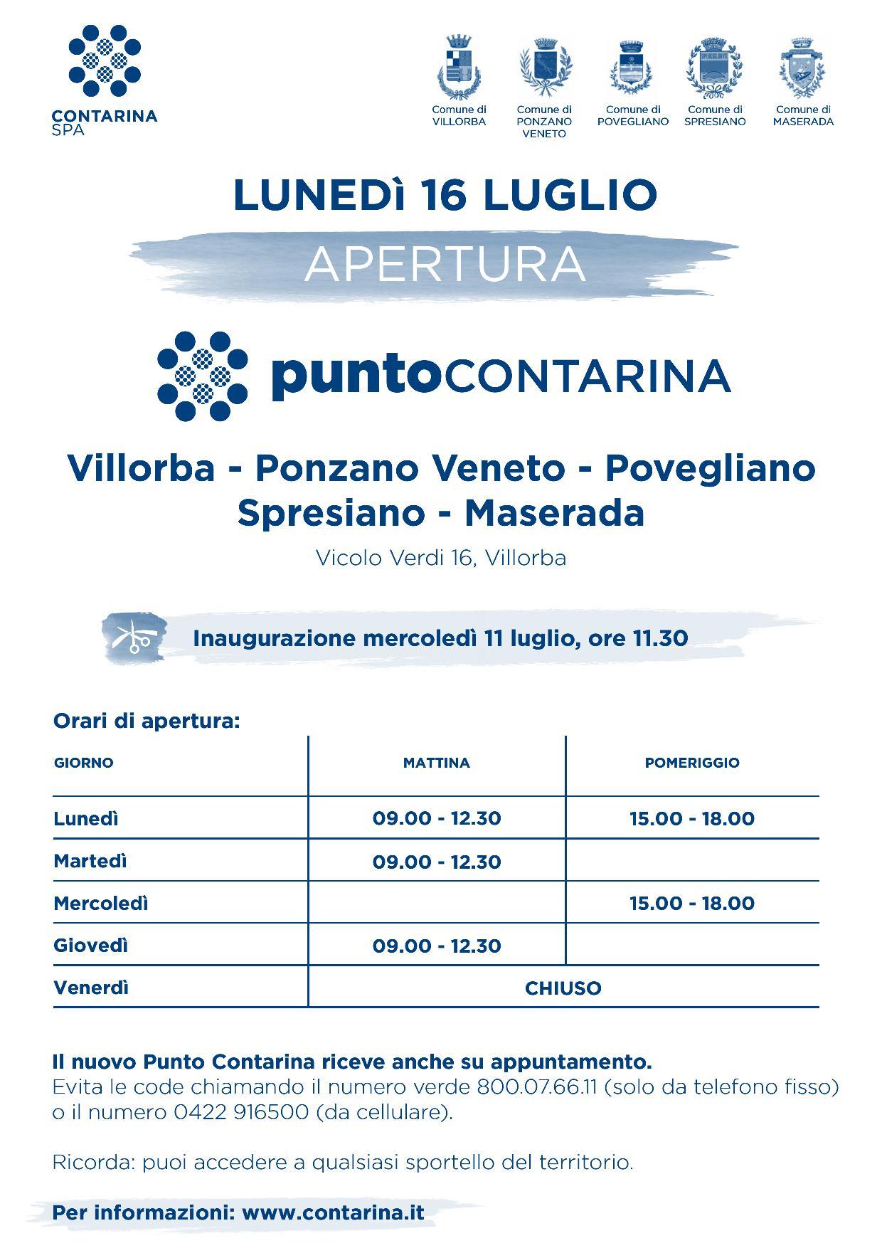 Comune Di Ponzano Veneto apertura nuovo punto contarina